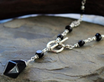 Black Onyx Gemstone Pendulum Necklace - Scrying Dowsning tool wiccan jewelry pagan jewellery handcrafted by White Raven Designs