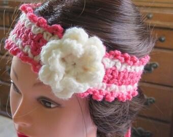 Flower Headband Adult, Boho Head Wrap, Hair Accessories, Crochet Headband