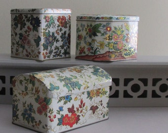 containers - Daher tins - vintage - English Trio - a collection of 3 tins