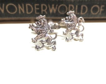Antiqued Silver Lion Filigree Cuff Links - Medieval - antique silver - Victorian - Soldered - Game of Thrones - Lannister