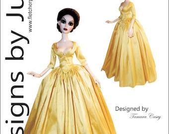 Outlander Claire Dress Pattern for 18.25 Evangeling Ghastly Dolls Tonner