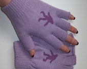 Lavender Fingerless Gloves with Purple Sasquatch