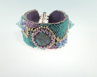 Emerald and Raspberry Floral Bead Embroidered Bracelet, Cuff Bracelet
