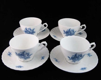 Germany Rheinpfalz Hartporzellan Blue Roses Tea Cups & Saucers (8 PCS)