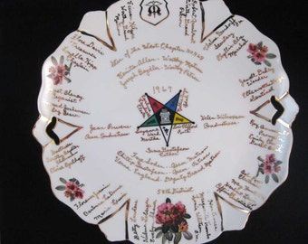 OES Order of Eastern Star Chapter No.468~1967 Members Plate Freemason Signed