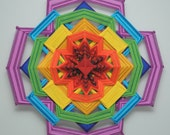 Colors of Life, Version 2, a 24 inch, wool yarn, Ojo de Dios, in stock by Janelle Lucido