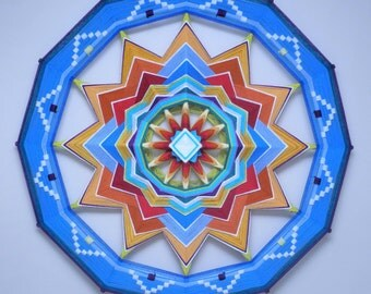 Wheel of Life, 32 inchs, with acrylic and wool yarns, by Jay Mohler, in stock, ready to ship