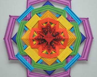 Colors of Life, Version 2, a 24 inch, wool yarn, Ojo de Dios,