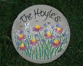 WELCOME Garden Stone - Stepping Stone  - Cone Flower- PERSONALIZED Stepping Stone - Memorial - Anniversary - FREE Gift Wrap!!