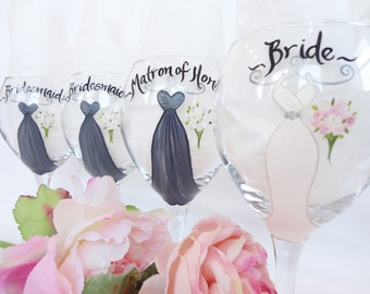 Personalized Bridesmaid Wine Glasses - EXACT REPLICAS - Hand Painted Wine Glasses - Bridesmaid Wine Glasses - Bridal Party Glassware