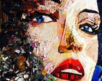 Insatiable Mosaic Portrait, one of a kind, mosaic art