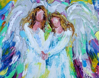 Angel Friends print on canvas made from image of Original painting by Karen Tarlton fine art impressionism
