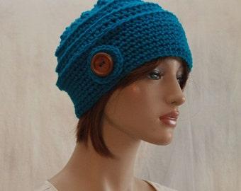 Crochet Womens Hat Fall Beanie Blue Azurite Ladies Hat wood button beanie  winter fashion hat  accessories