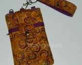 Gold Honey Yellow & Purple  Phlox Swirls or Floral Batik Phone Case with Wristlet iPhone 4 5 6 Plus Xperia Note Samsung LG Jewel