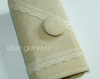 Interchangeable Knitting Case Roll Organizer Circular Straight Needles - Ready to Ship Solid Natural Lace Spill Pr