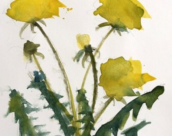 Dandelions Original Floral Watercolor Painting by Angela Moulton 8 x 10 inch with 11 x 14 inch White Mat