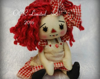 ON SaLe Primitive Folk Art Raggedy Annie Doll FAITH and her collection of Hearts vintage fabric and Buttons  Must See
