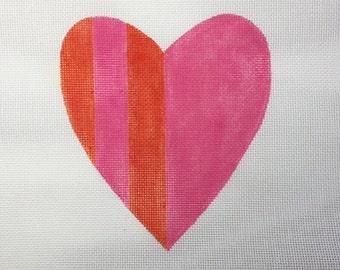 Valentine Heart Red & Pink Stripes Needlepoint - Jody Designs #VH3