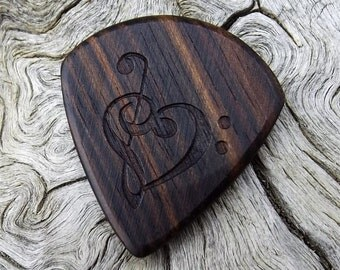 Jazz Stubby Wood Guitar Pick - Premium Quality - Handmade With Mun Ebony - Laser Engraved Both Sides - Actual Pick Shown  Artisan Wood Pick
