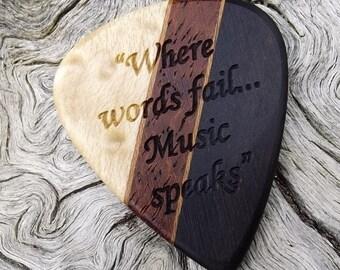 Handmade Multi-Wood Premium Guitar Pick - Actual Pick Shown - Artisan Guitar Pick - Engraved Both Sides - See Pics