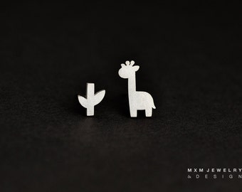 Sterling Silver Little Giraffe & Branch Stud Earrings