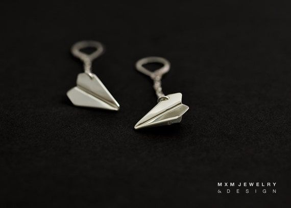 Small / HandFolded Paper Airplane W/Chain Earrings