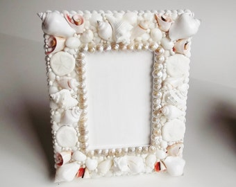 Seashell Frame, Picture Frame, Seashell Table Decor, Pearl Umboniums, Cut Strombus, Sea Biscuits, 8 x 10