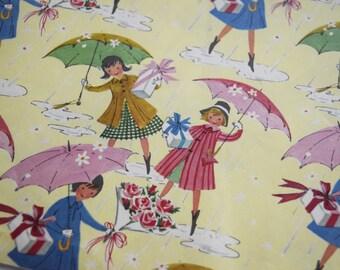 Vintage GIFT WRAP PAPER Boy Girl Birthday Shower Yellow Umbrella Parasol Present Pink Rose Flower Rain Blue Children Party Dress Box Bow 50s