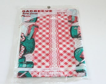 Vintage 1950's Tablecloth plastic barbecue table cover Retro mid-century mod Kitsch red Coral turquoise teal green Graphics kitchen ephemera