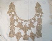 Vintage Large Crochet Bib Collar - Tan Color - Grape Vine Motif / Design- Great Condition