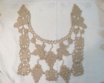 Vintage Bib Collar - Large Crochet  - Tan Color - Grape Vine Motif / Design- Great Condition