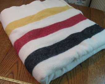Vintage Wool Hudson Bay Type Blanket - 84W x 86L - Heavy - Great Condition -