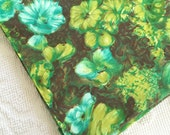Beautiful Vintage 1960's Blue Green Brown Floral Flowers Cotton Fabric