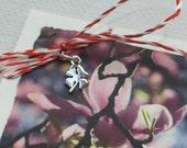 Mărțișor. Valentine. Tiny silver lucky clover charm