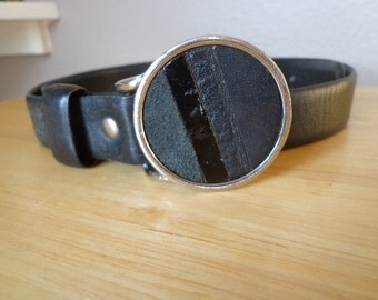 Vintage Vera Neumann Black Leather Belt, Size Medium