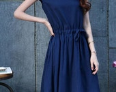 lovableness Dark blue linen Sundress(more colour and size choice)-002