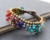 Rainbow Glass Beads Chunky Band Bracelets