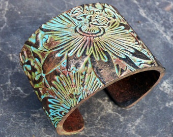 Tomorrow is an illusion copper and patina polymer clay cuff bracelet
