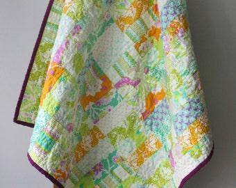 Modern Baby Quilt, Brick Quilt, Citrus Baby Quilt,  Nursery Bedding, Purple, Baby Girl, Boho Baby, Butterflies, Flowers, Handmade Quilt