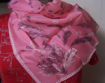 Vintage Carol Stanley Silk Scarf, Pink with Black & White Feathers, 1940s 1950s 1960s, Japanese, Japan