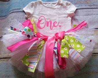 First Birthday Rag Tutu Dress Ready To Ship Size 12 months Birthday Rag Tutu  Outfit