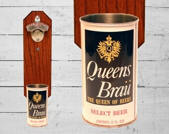 Wall Mounted Bottle Opener with Vintage Queen Brau Beer Can Cap Catcher Import Beer - Royal Gift