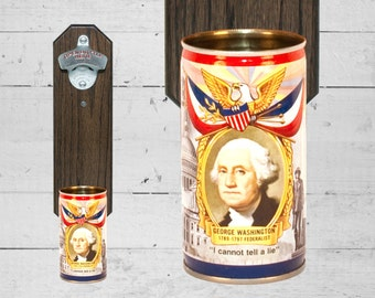 Retro Bar Decor George Washington Wall Mounted Bottle Opener with Vintage Falstaff Beer Can Cap Catcher