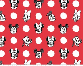 Character Jumbo Dots in Ruby -  Licensed Disney Fabric  - you choose the cut