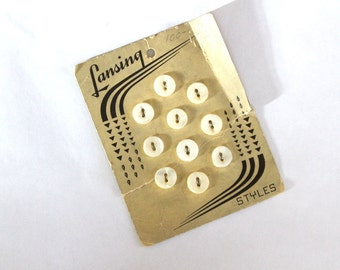Vintage 1930s Lansing Pearl Buttons on Original Card