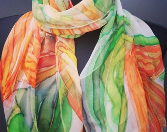 Hand painted silk scarf. Wearable art with orange lilies on green. Floral chiffon shawl ooak by singingscarves