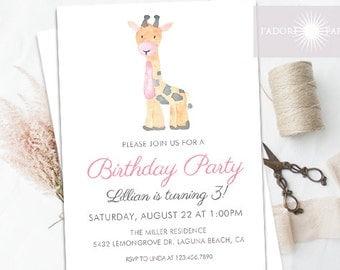 Birthday Invitation, Giraffe Birthday Invite, Zoo Invite, 1st Birthday Invitation, Cute, Printable Invite, Watercolor Invite, jadorepaperie