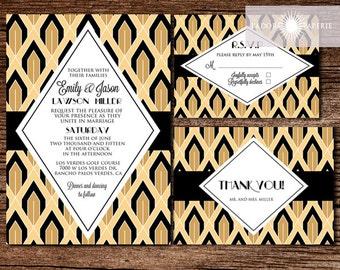 Great Gatsby Invitation, Art Deco Wedding Invitation, Roaring 20, Art Deco, Black, Gold, Wedding Invites, Printable, 1920s, jadorepaperie