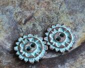 SALE Mykonos Green Patina Mandala - 20mm 2 Hole Button - Jewelry Making Supply - Wrap Bracelet Supplies - Choose Amount
