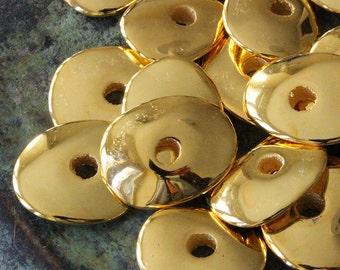 18x15mm 24K Gold Disk Beads - Mykonos Cornflake Beads - Jewelry Making Supply - Metalized Ceramics - Freeform - Choose Your Amount